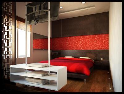 Giường gấp dọc kết hợp tủ quần áo và giá sách
